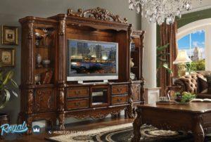 Bufet Tv Jati Mewah Ukir Jepara Dresden Tv Set Terbaru