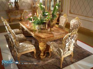 Meja Makan Mewah Gold Ukiran Classic Eropan Furniture Terbaru