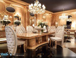Meja Makan Mewah Klasik Ukiran Jepara Gold Duco Terbaru