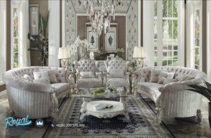 Set Kursi Tamu Sofa Acme Full White Duco Mewah Model Terbaru Jepara