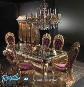 Set Meja Makan Mewah Ukiran Klasik Victorian Eropan Furniture Jepara Terbaru