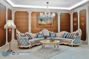 Set Sofa Tamu Classic Leonardo Baby Blue Modern Furniture Mewah