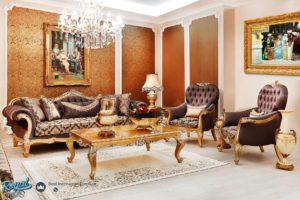 Set Sofa Tamu Mewah Klasik Terra Duco Gold Terbaru
