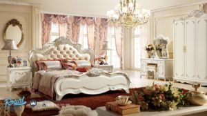 Set Tempat Tidur Mewah Putih Duco Ukir Jepara Modern Model Terbaru