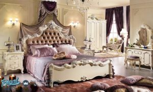 Set Tempat Tidur Mewah Ukiran Mebel Jepara Putih Duco Terbaru