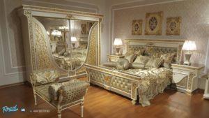Set Tempat Tidur Super Mewah Gold Luxury Ukiran Jepara Terbaru