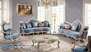 Sofa Tamu Mewah Putih Gold Duco Klovu Klasik Ukir Mebel JeparaTerbaru