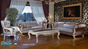 Sofa Tamu Mewah Terbaru Ukir Modern Putih Duco Terbaru