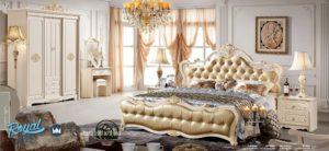 Tempat Tidur Mewah Putih Duco Modern Model Terbaru Set Classy