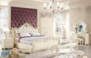 Tempat Tidur Mewah Putih Duco Modern Model Terbaru Ukir Jepara