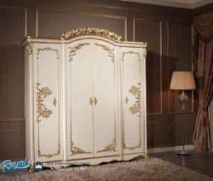 Almari Pakaian Mewah Klasikal White Duco Terbaru Empat Pintu