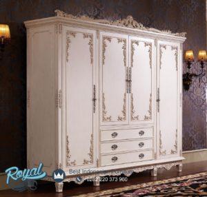 Almari Pakaian Mewah Putih Duco Klasik Ukiran Jepara