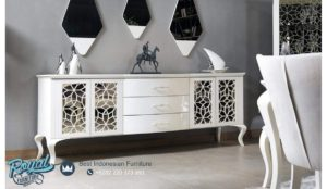 Bufet TV White Saly Model Furniture Klasik Mewah Terbaru