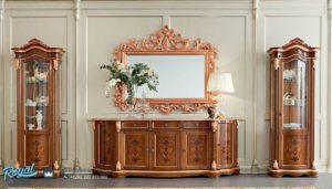 Set Bufet TV Mewah Jati Ukir Model Klasik Furniture Terbaru