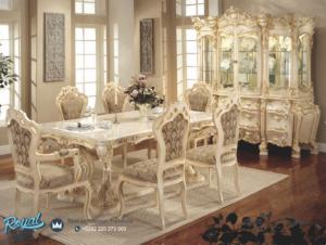 Set Dining Room Mewah White Klasik Meja Makan Terbaru