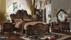 Set Kamar Tidur Jati Versailles Panel Kayu Jati Mewah Model Terbaru