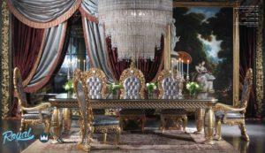 Set Kursi Meja Makan Mewah Gold Ukir Jepara Dining Room Terbaru
