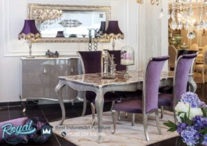 Set Kursi Meja Makan Mewah Victoria Purple Furniture Set Terbaru