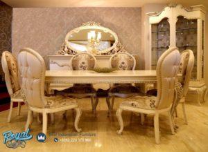Set Meja Makan Klasik Oval Furniture Set Dining Room Mewah Terbaru