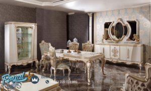 Set Meja Makan Mewah Bergamo Klasik Furniture Ukiran Model Terbaru