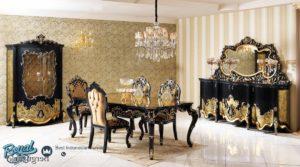 Set Meja Makan Mewah Berguzar Black Gold Furniture Dining Room Set Terbaru
