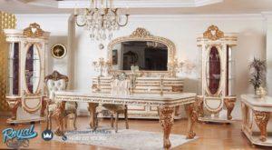 Set Meja Makan Mewah Elmas Furniture Ruang Makan Keluarga Terbaru