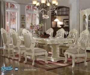 Set Meja Makan Mewah White Blossom Klasikal Dining Room Terbaru