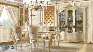 Set Meja Makan Mewah White Levita Furniture Dining Room Terbaru