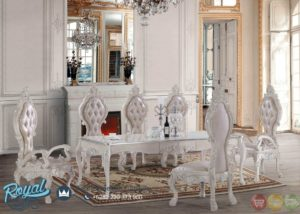 Set Meja Makan Mewah White Ukiran New Design Dining Room Set Terbaru