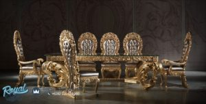 Set Meja Makan Ukir Mewah Gold Luxury Dining Room Set Terbaru