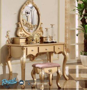Set Meja Rias Mewah Diana Gold Semi Klasik Terbaru