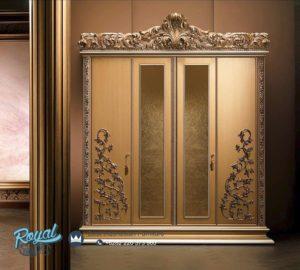 Almari Pakaian Mewah 4 Pintu Gold Ukir Mewah Furniture Klasik Terbaru