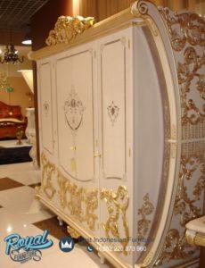 Lemari Pakaian 4 Pintu Mewah Raflesia Ukir Klasik Jepara Terbaru