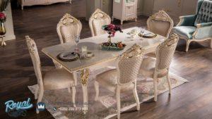 Set Kursi Meja Makan Mewah Model Klasik White Duco Terbaru