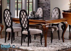Set Meja Makan Mewah Ambar Klasik Furniture Dining Room Ovale Terbaru