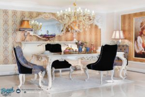 Set Meja Makan Mewah Armani Duco Putih Furniture Dining Room Terbaru
