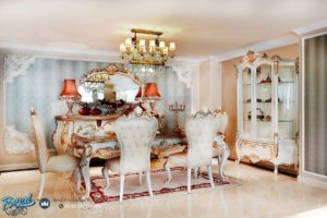 Set Meja Makan Mewah Bernard Luxury Dining Room Set Model Terbaru