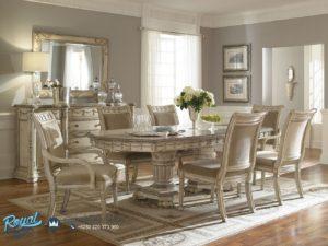 Set Meja Makan Mewah Duco Putih Klasik Furniture Terbaru