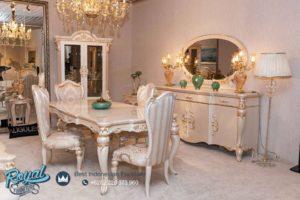 Set Meja Makan Mewah White Classic Furniture Jepara Terbaru