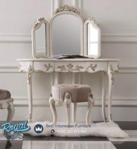 Set Meja Rias Mewah Banketka White Duco Furniture Ukiran Terbaru