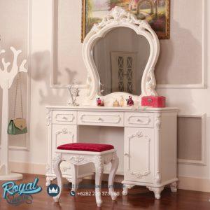 Set Meja Rias Mewah White Duco Modern Desain Furniture Klasik Terbaru