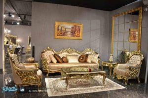 Set Sofa Tamu Mewah Sultan Gold Klasik Furniture Mewah Ukir Jepara