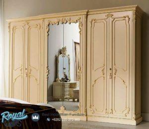 Lemari Pakaian Mewah Larissa 6 Pintu dengan Pintu Kaca Cermin
