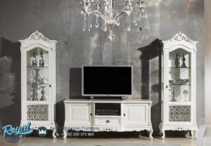 Set Bufet TV dan Almari Hias Bianco White Duco Terbaru