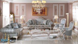 Set Kursi Tamu Sofa Baby Blue Klasik Custom Mewah Terbaru