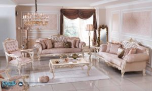 Set Kursi Tamu Sofa White Classic Design Living Room Furniture Terbaru
