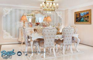 Set Meja Makan Mewah Florasa Klasik Modern Furniture Dining Room Terbaru