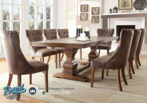 Set Meja Makan Minimalis Mewah Jati Oak Furniture Dining Room Terbaru