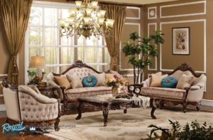 Set Sofa Ruang Tamu Mewah Jati Ukiran Klasik Bristol Living Room
