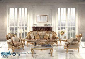 Set Sofa Tamu Mewah Bilima Gold Klasik Furniture Mewah Ukir Terbaru